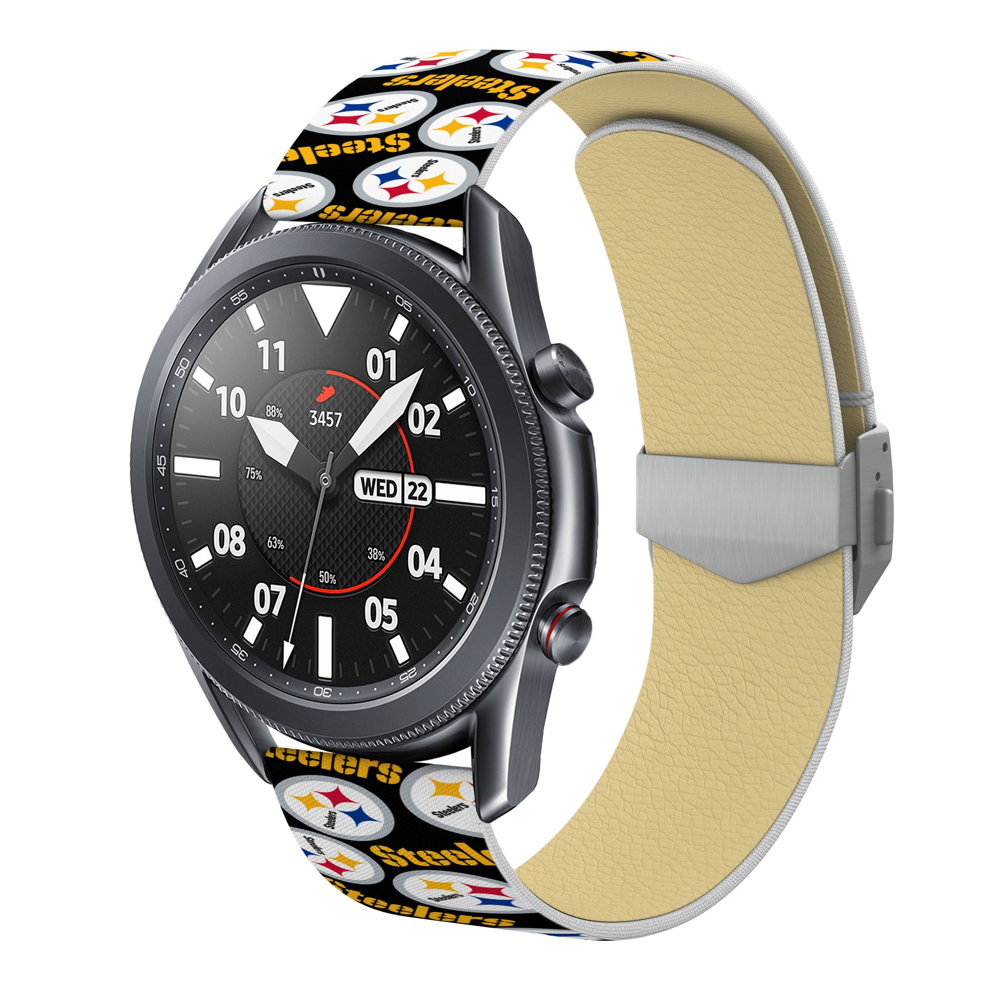 Pittsburgh Steelers Full Print Quick Change Watch Band With Engraved Buckle - AffinityBands