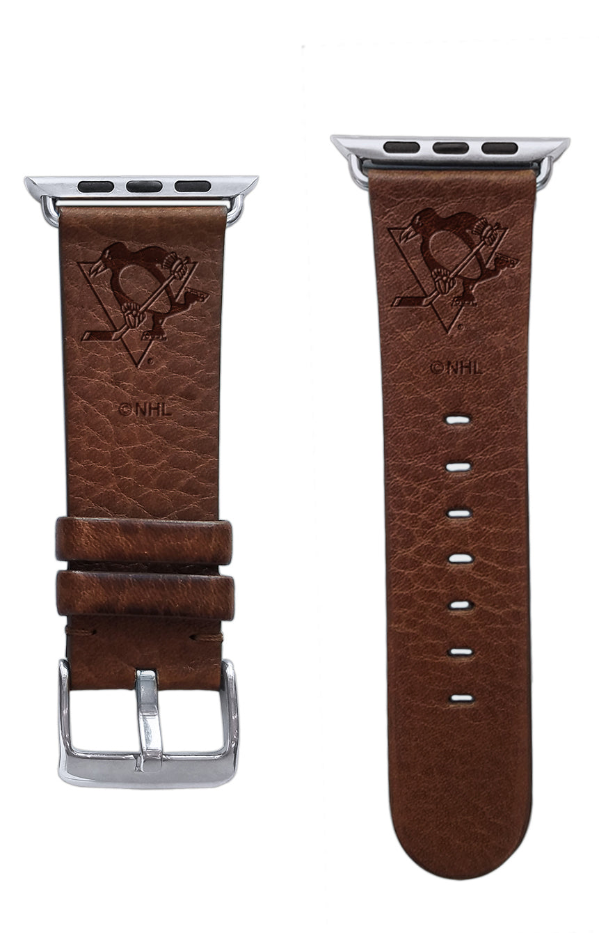 Pittsburgh Penguins Leather Apple Watch Band