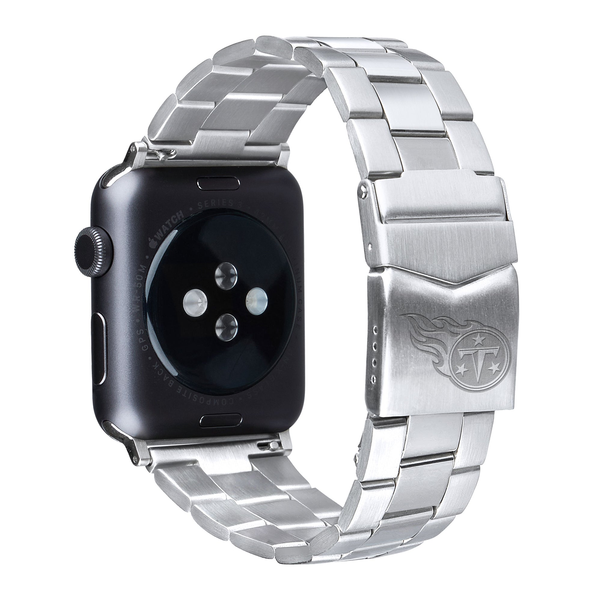 Tennessee Titans Stainless Steel Link Style Apple Watch Band - AffinityBands