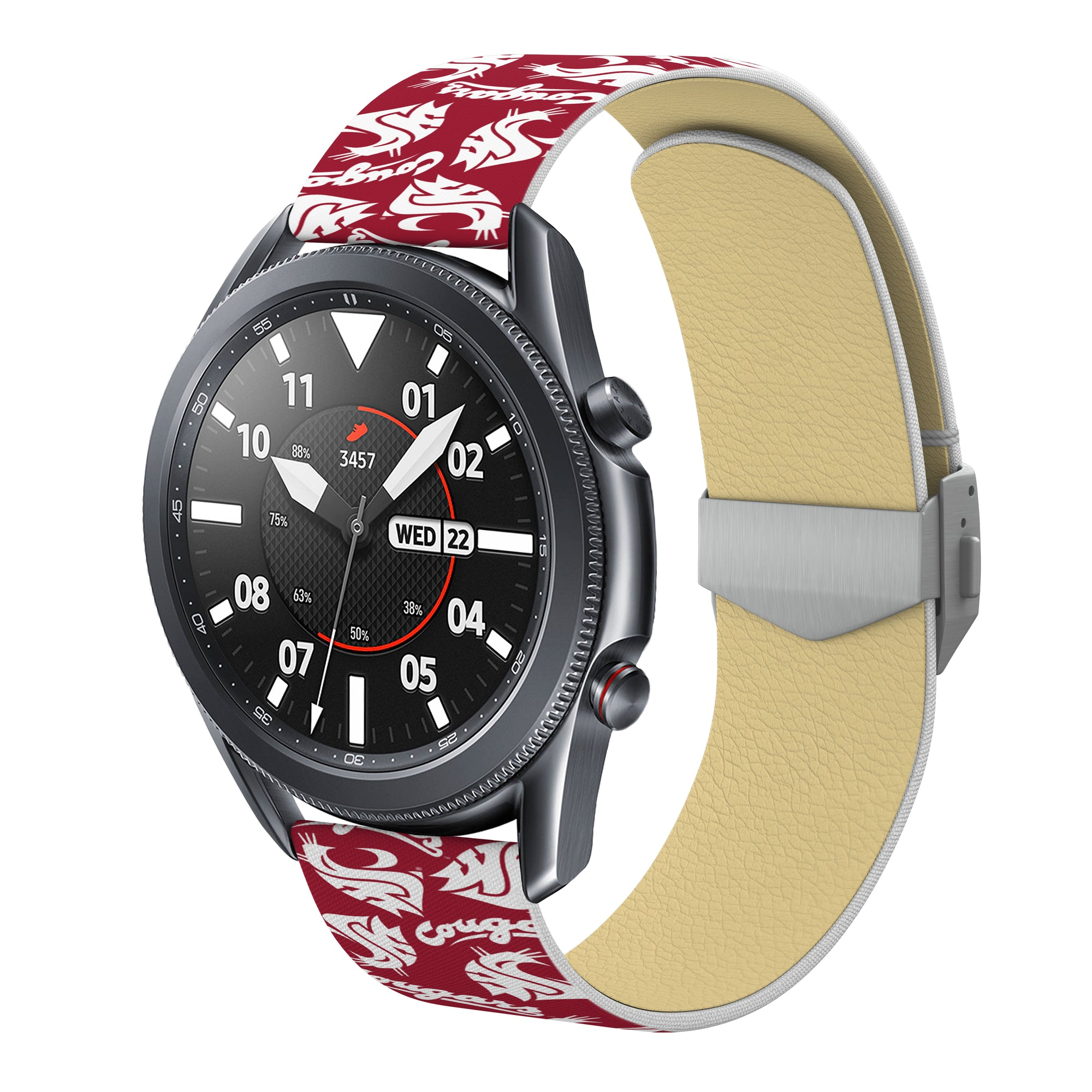 Washington State Cougars Full Print Quick Change Watch Band With Engraved Buckle - AffinityBands