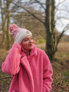 Pink Bobble Logo Fluffy Lined Hat