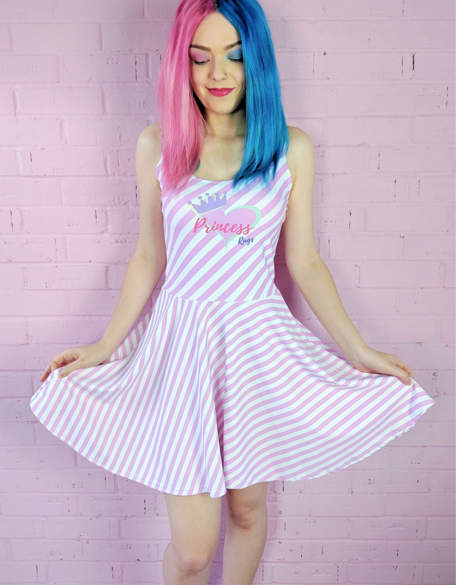 Candy Stripe Princess Rags Logo Skater Dress