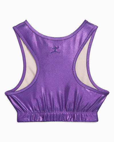 Girl's Foil Print Gymnastics Top