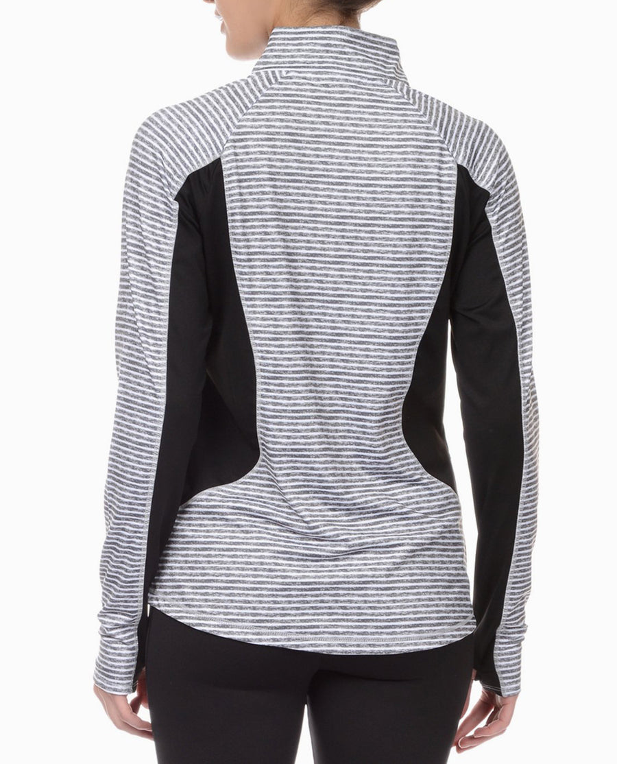 Graphite Stripe Quarter Zip Top