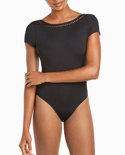 NYCB Geometric Laser Cut Short Sleeve Leotard