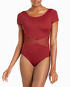 NYCB Mesh Waist Short Sleeve Leotard