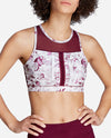 Pintuck Detail Floral Print Sports Bra