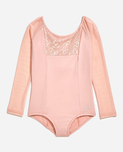 Girl's Floral Mesh Long Sleeve Leotard