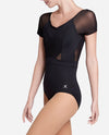 Pleated Mesh Short Sleeve Leotard