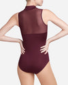 Ruched Zipper Mock Neck Leotard