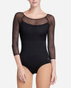 Mesh Overlay Long Sleeve Leotard