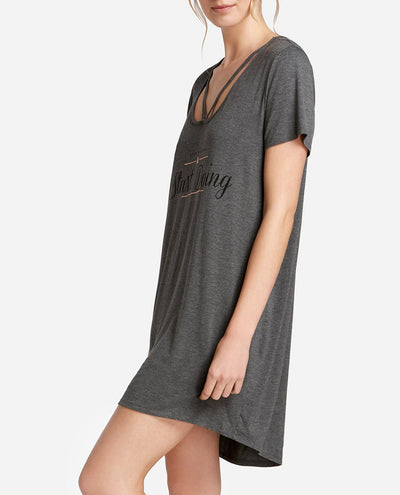 High-Low Cage Neck Shirt