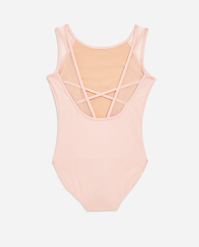Girl's Sheer Mesh Cross-Back Leotard