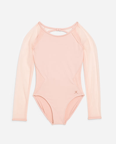Girl's Sheer Mesh Long Sleeve Leotard