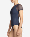 Women's Textured Spot Mesh Short Sleeve Leotard