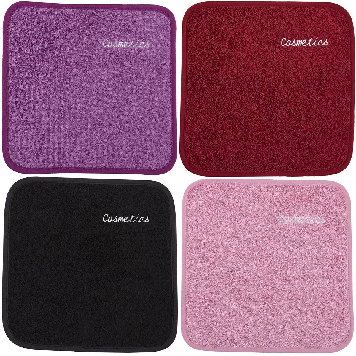 "Parador® Chic Embroidered Cosmetics Removal Facecloths Set of 4, Embroidered Makeup Towels 13"" x 13"", 100% Pure Turkish Cotton"