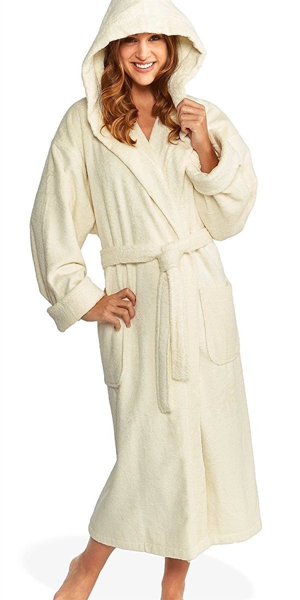 Monogrammed Hooded Turkish Terry Bath Robe, Parador® Personalized Bathrobe Embroidered Terry Cotton Robe 100% Combed Pure Cotton Valentines