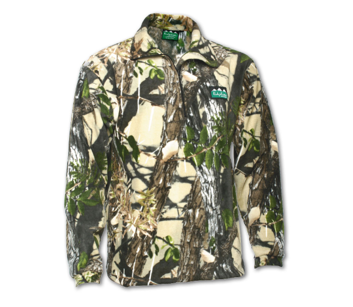 Ridgeline Micro Fleece Long Sleeve Shirt - Size S - Buffalo Camo