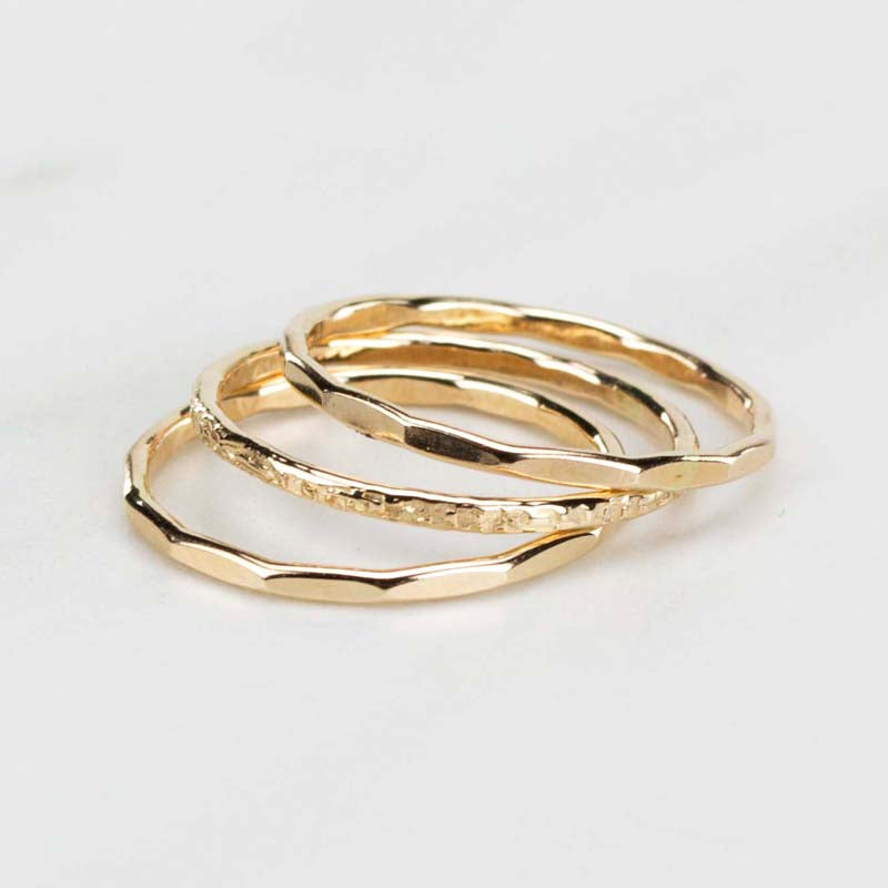 textured stack rings