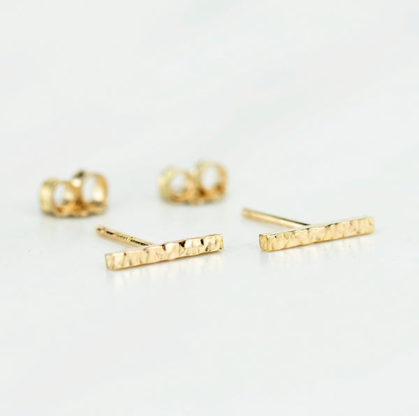 Hammered Bar Stud Earrings