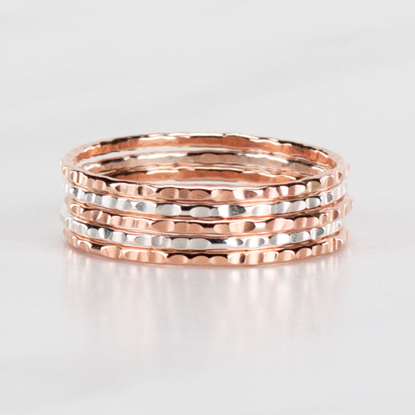 two toned stack ring set