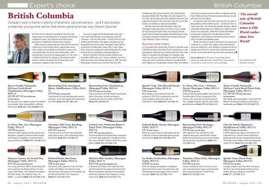 Steven Spurrier features BC wineries in Decanter Magazine