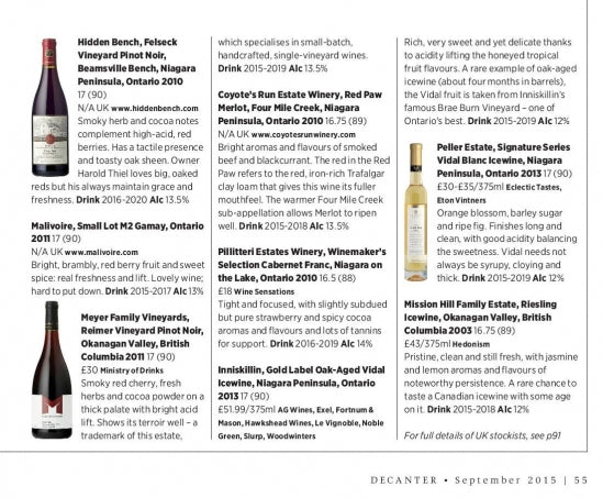"""Canada Can"" Decanter Magazine!"