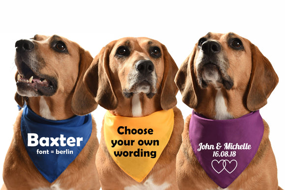 customised personalised dog bandanas
