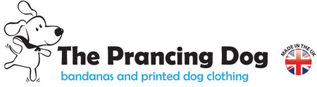 The prancing dog bandanas and printed dog clothing