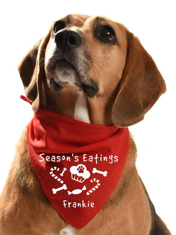 festive dog bandana christmas xmas season's eatings yummy food and goodies candy canes and cupcakes and sweets