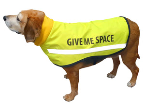 GIVE ME SPACE - I need space yellow dog coat - reflective high viz winter dog coat with wording