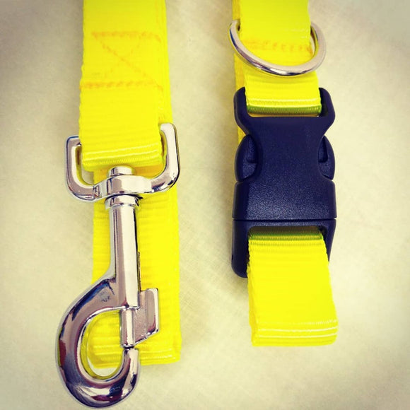 HIGH VIZ BRIGHT YELLOW DOG COLLAR AND LEAD HANDMADE IN SCOTLAND YELLOW DOG LEASH