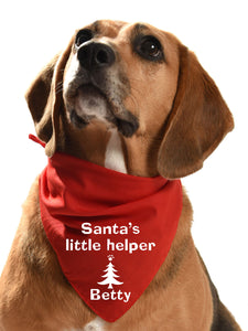 Santa's Little Helper customised personalised dog bandana festive christmas