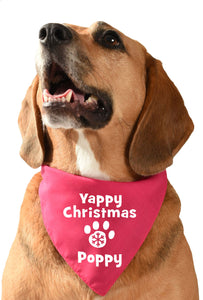 yappy christmas personalised dog bandana with dogs name snowflake and pawprint