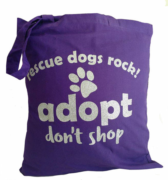 glitter bag purple adopt dont shop rescue dogs rock promo bag