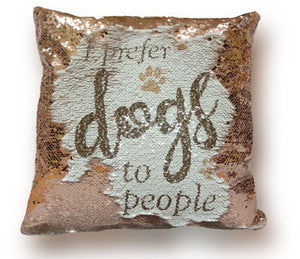 mermaid cushion - champagne gold plush on reverse I prefer dogs to people cute gift