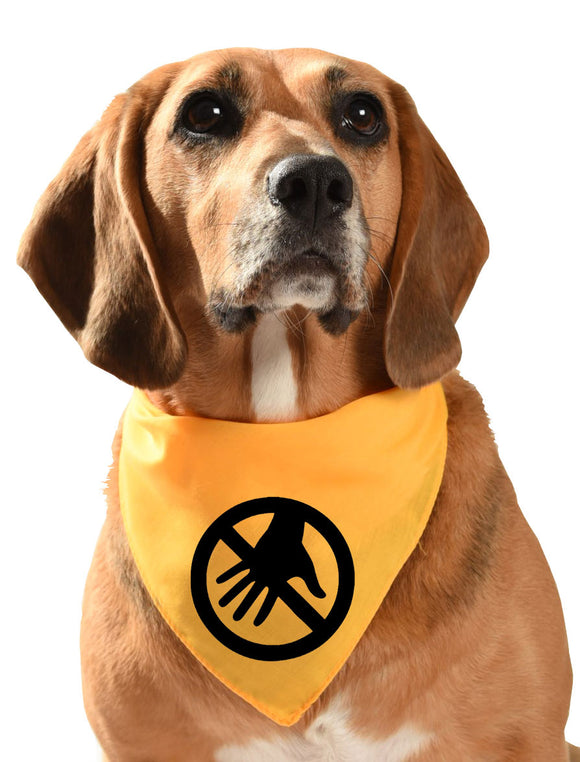 Do Not Touch yellow dog bandana for fearful, anxious and nervous dogs who may be reactive to humans