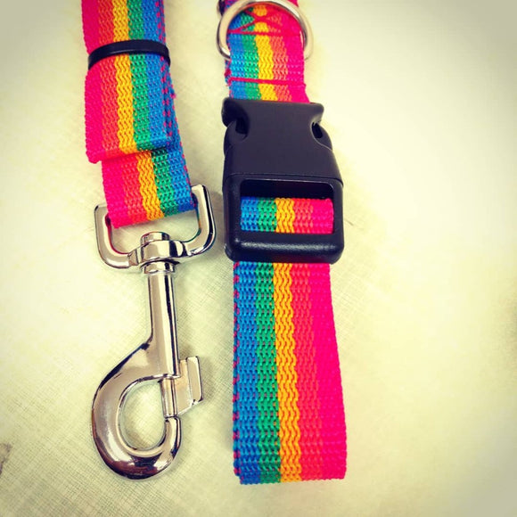 rainbow love pride collar and lead set dog leash for dogs webbing strap handmade durable
