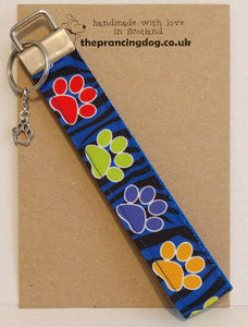 wrist fob big paw prints blue