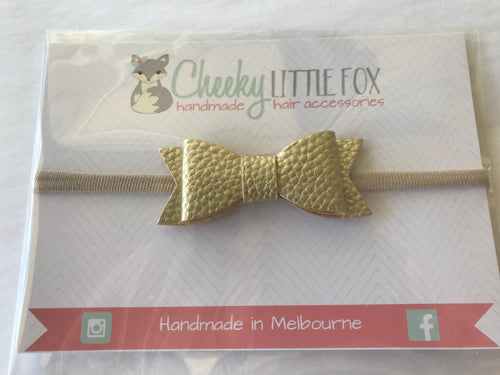 Frankie faux leather bow headbands- Gold