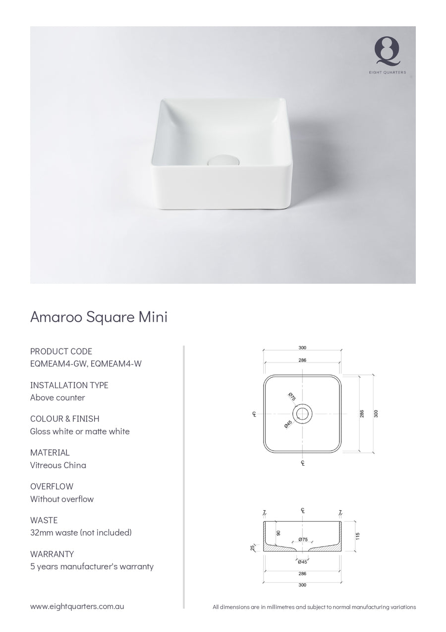 Eight Quarters Basins - Amaroo Square Matte Mini