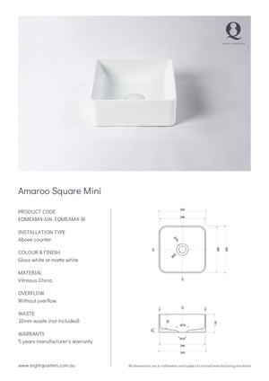 Eight Quarters Basins - Amaroo Square Gloss Mini