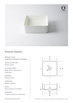 Eight Quarters Wash Basin - Amaroo Square Specs