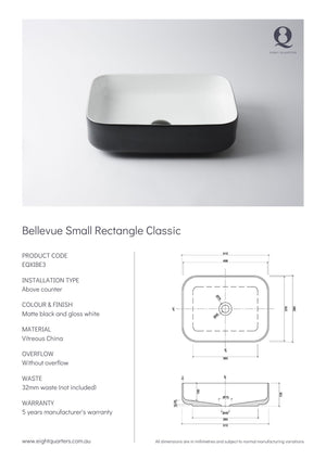 Eight Quarters Basins - Bellevue Small Rectangle Classic