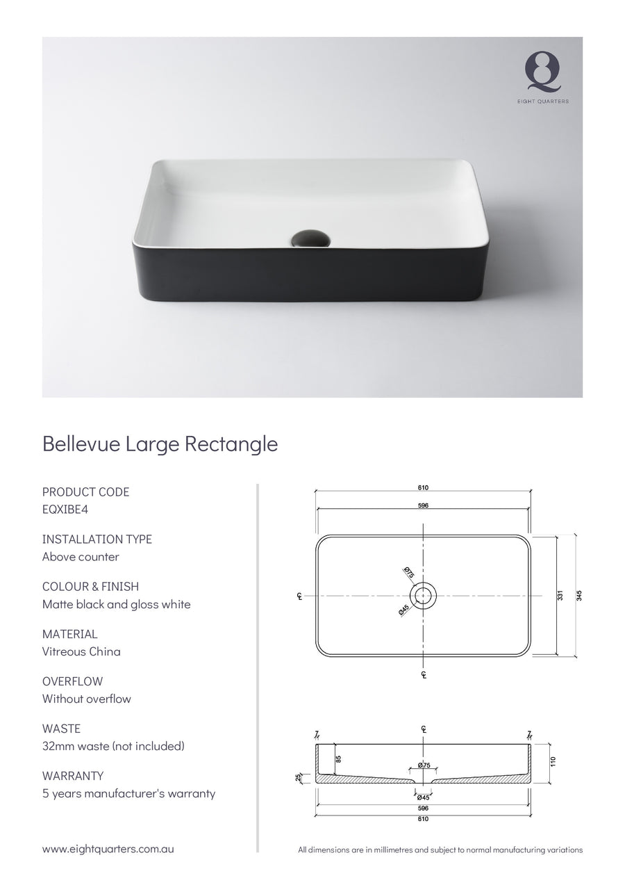 Eight Quarters Wash Basin - Bellevue Large Rectangle