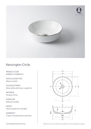 Eight Quarters Wash Basin - Kensington Circle Specs