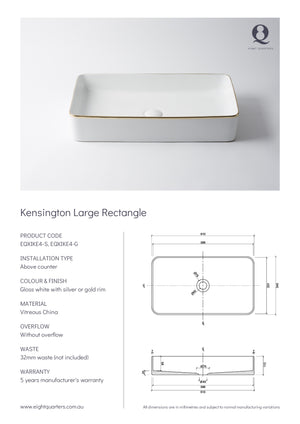 Eight Quarters Wash Basin - Kensington Large Rectangle Specs