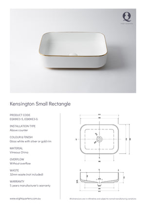Eight Quarters Wash Basin - Kensington Small Rectangle Specs