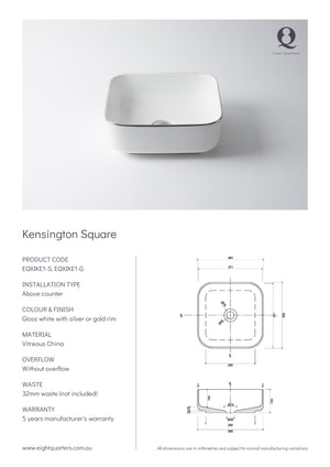 Eight Quarters Wash Basin - Kensington Square Specs