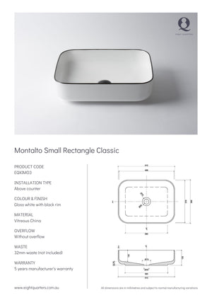 Eight Quarters Basins - Montalto Small Rectangle Classic